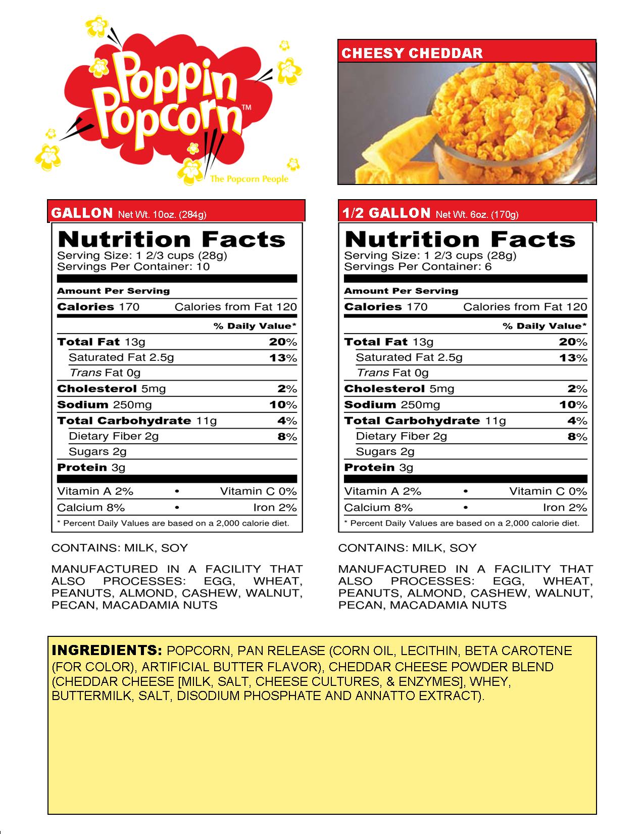 Cheesy Cheddar Web Nutritional