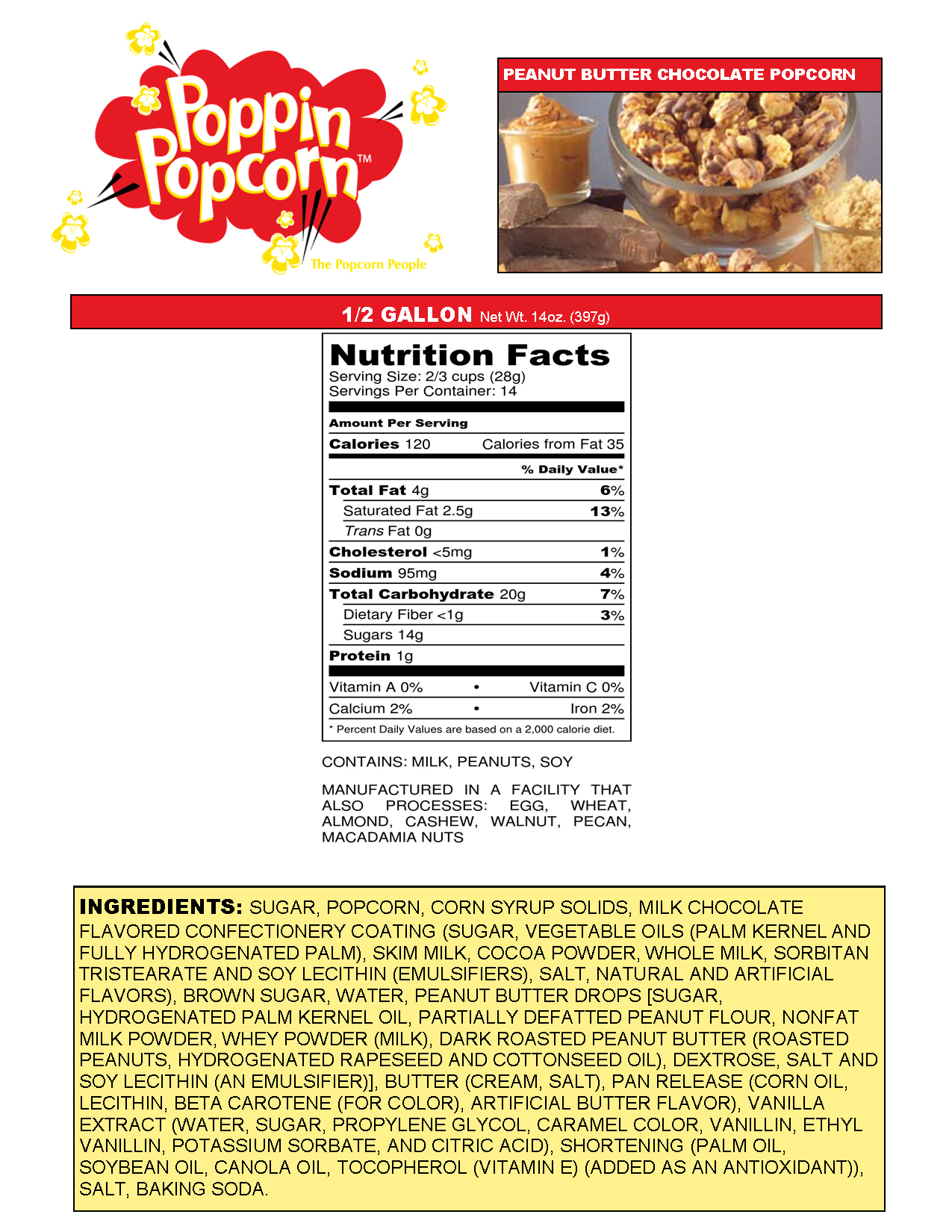 Peanut Butter Chocolate Web Nutritionals
