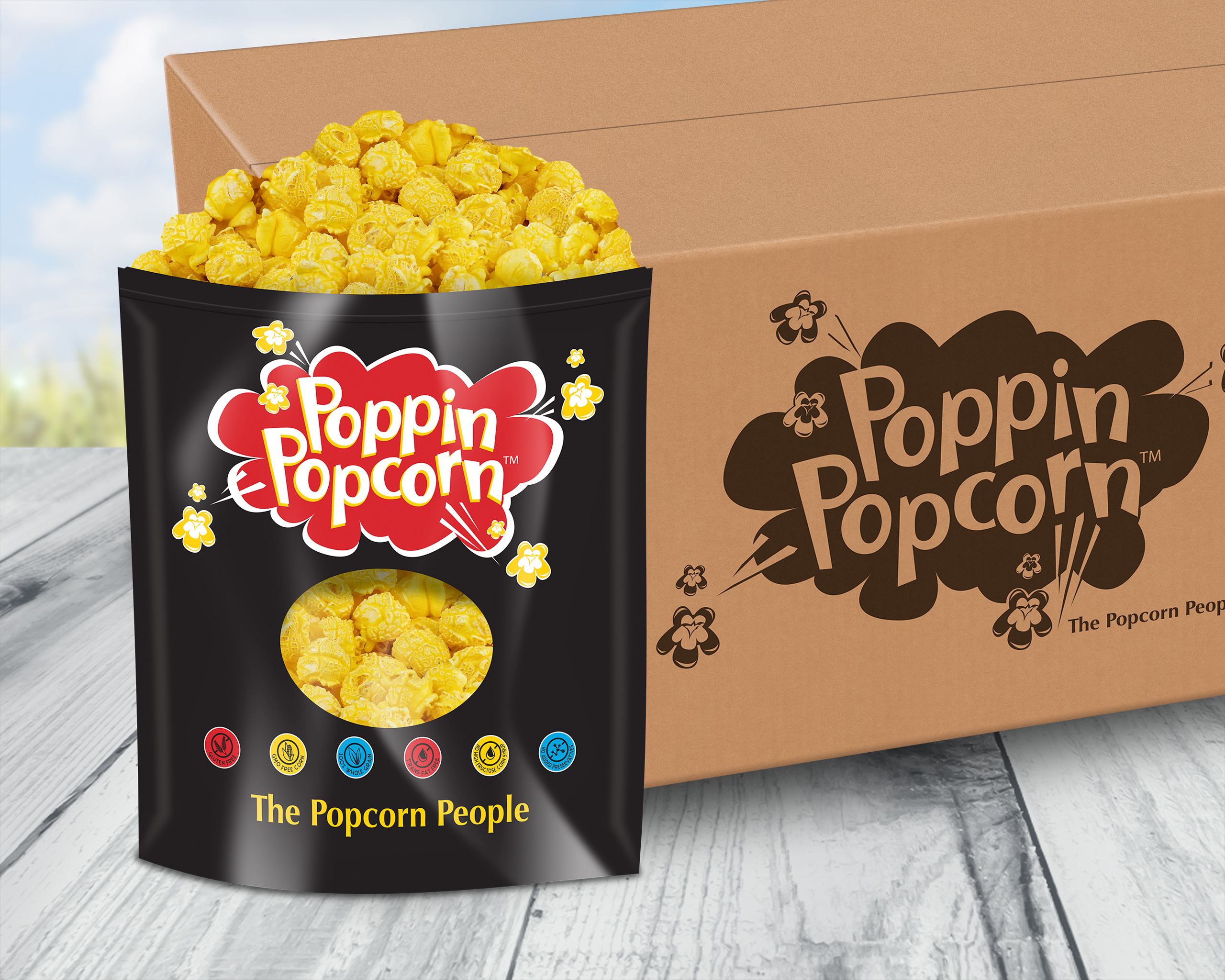 Movie Theater Butter Popcorn 1 Gallon 12 Ct Case Poppin Popcorn